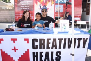 Maxine, Noah and Jonathan at the Creativity Heals Booth!