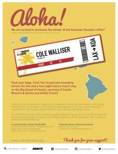 CH Hawaiian Vacation Winner Announcement